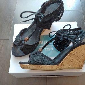 EUC crochet lace wedge heels